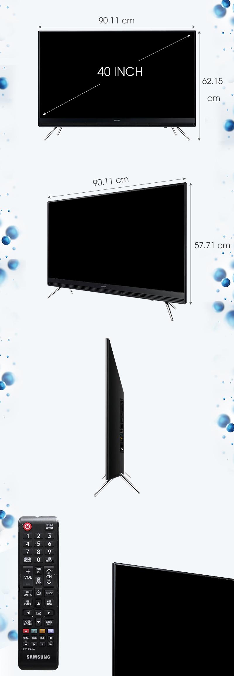 Smart Tivi Samsung 40 inch UA40K5300 - Kích thước tivi