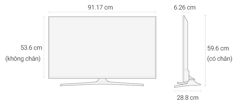 Smart Tivi Samsung 40 inch UA40KU6000 - Kích thước TV