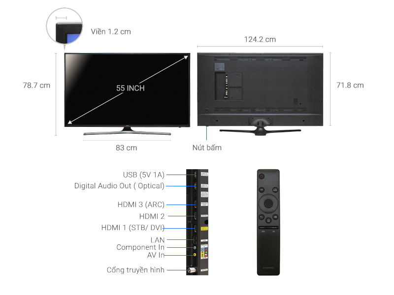 Thông số kỹ thuật Smart Tivi Samsung 55 inch UA55KU6000