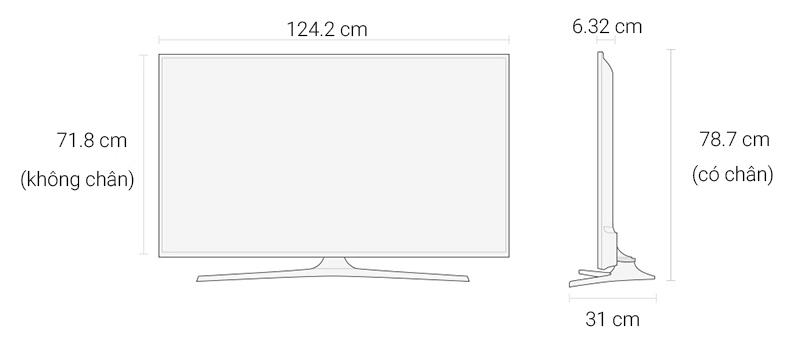 mart Tivi Samsung 55 inch UA55KU6000 - Kích thước tivi