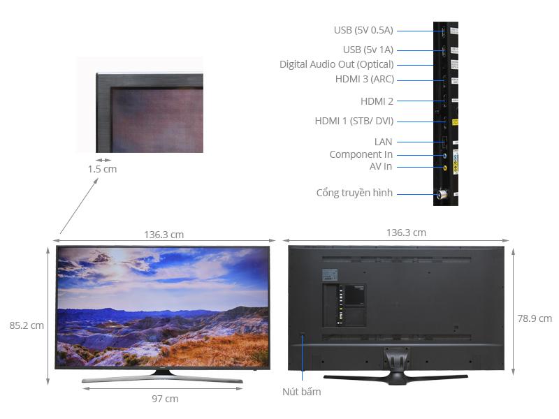 Thông số kỹ thuật Smart Tivi Samsung 60 inch UA60KU6000