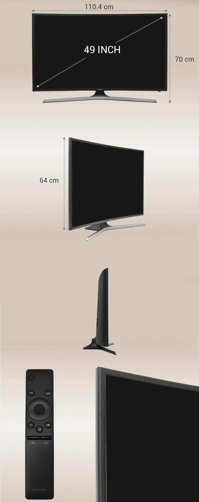 Smart Tivi Cong Samsung 49 inch UA49KU610 - Kích thước TV