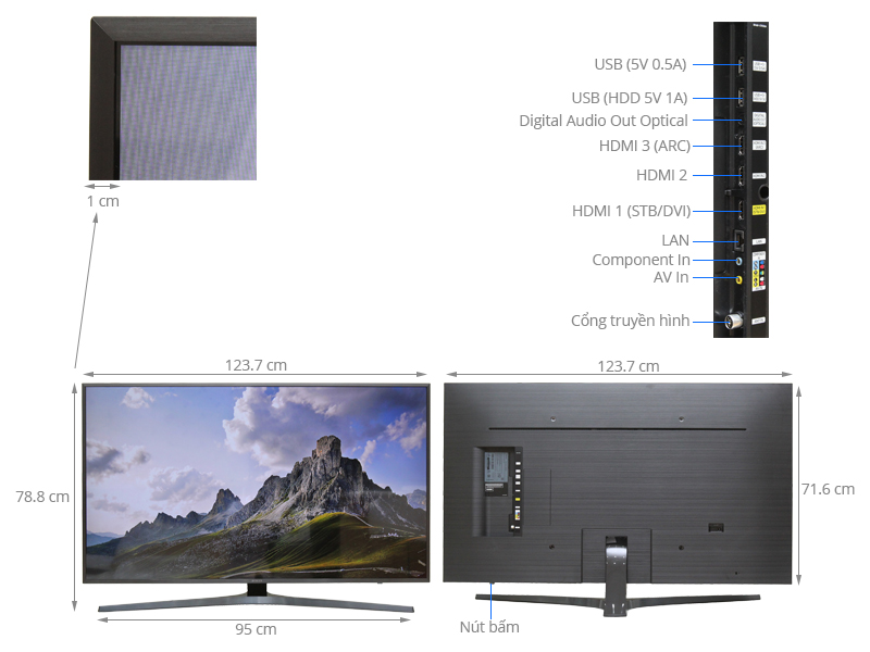 Thông số kỹ thuật Smart Tivi Samsung 55 inch UA55KU6400