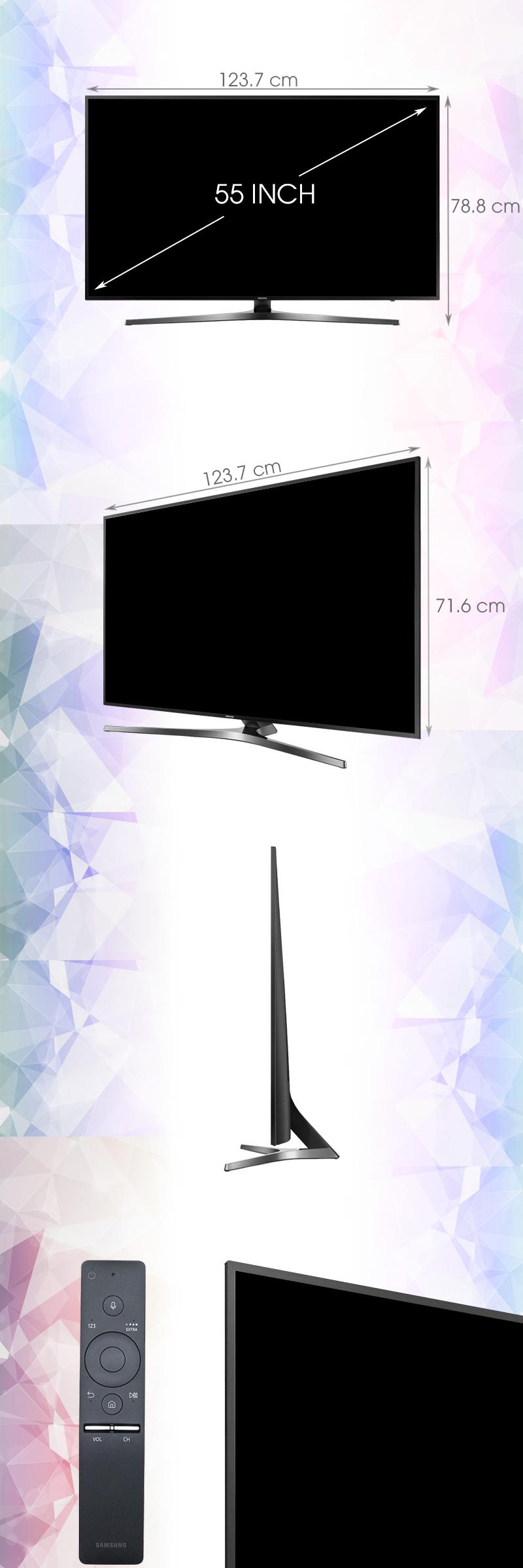 Smart Tivi Samsung 55 inch UA55KU6400 - Kích thước tivi