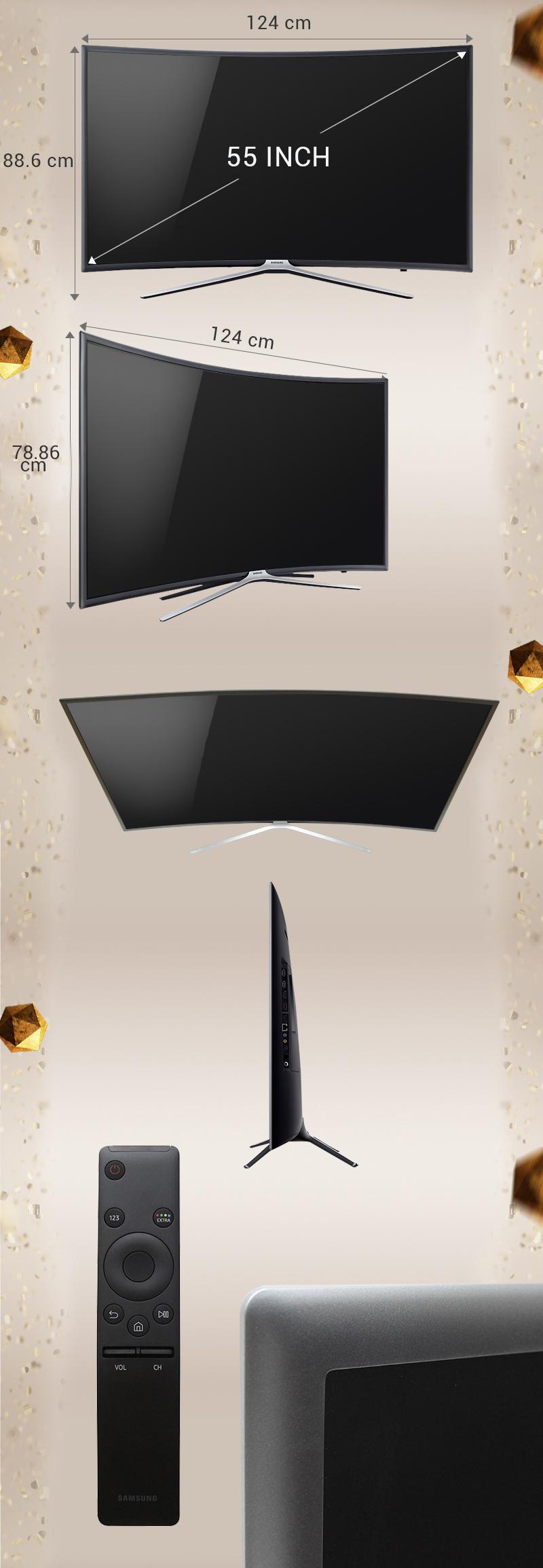 Smart Tivi cong Samsung 55 inch UA55K6300-Kích thước TV