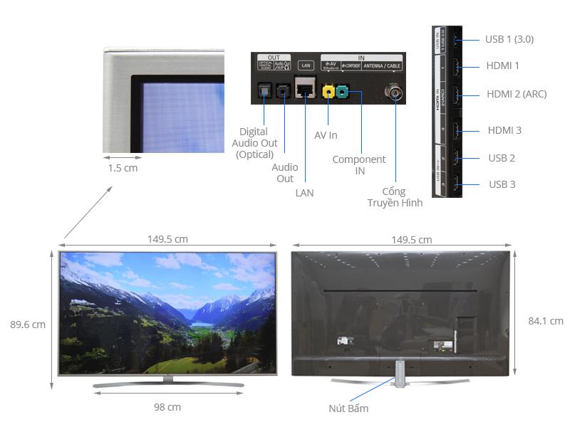 Thông số kỹ thuật Smart Tivi LG 65 inch 65UH770T