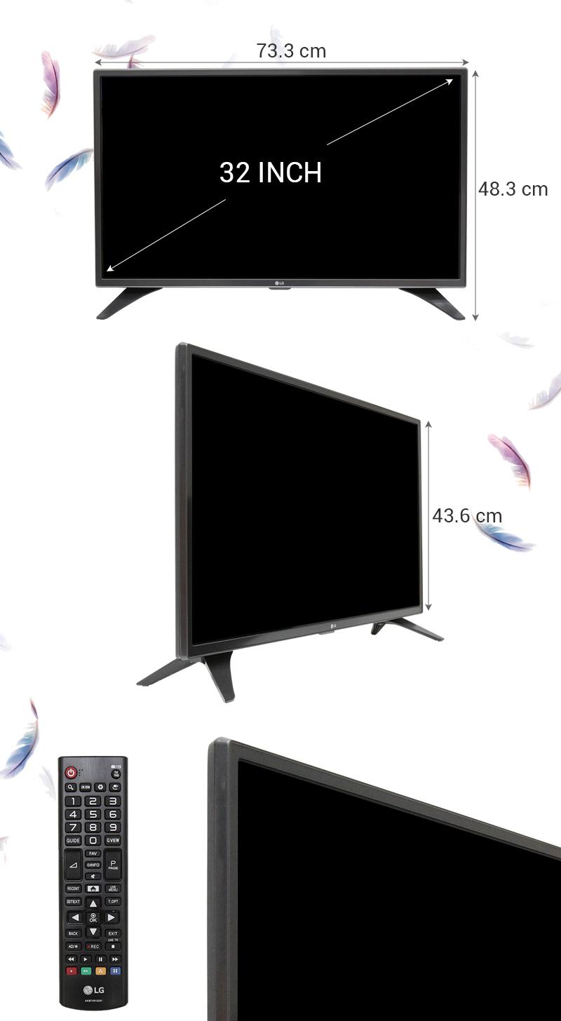 Smart Tivi LG 32 inch 32LH604D - Kích thước TV
