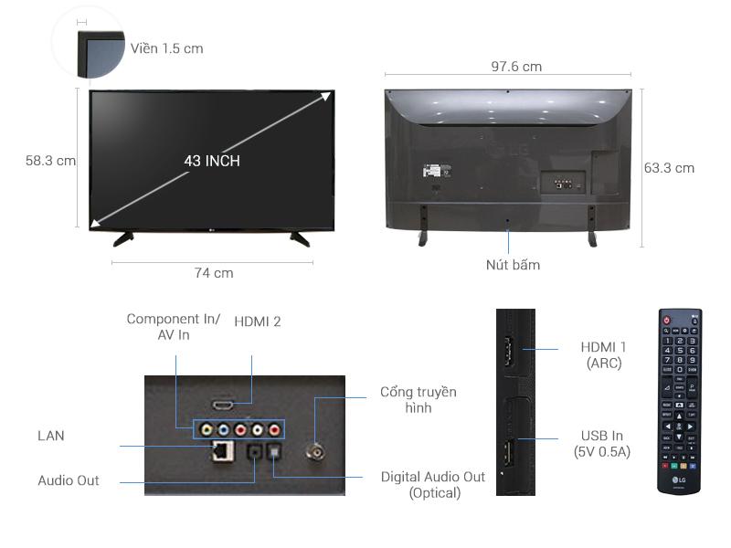 Thông số kỹ thuật Internet Tivi 43 inch LG 43LH570T