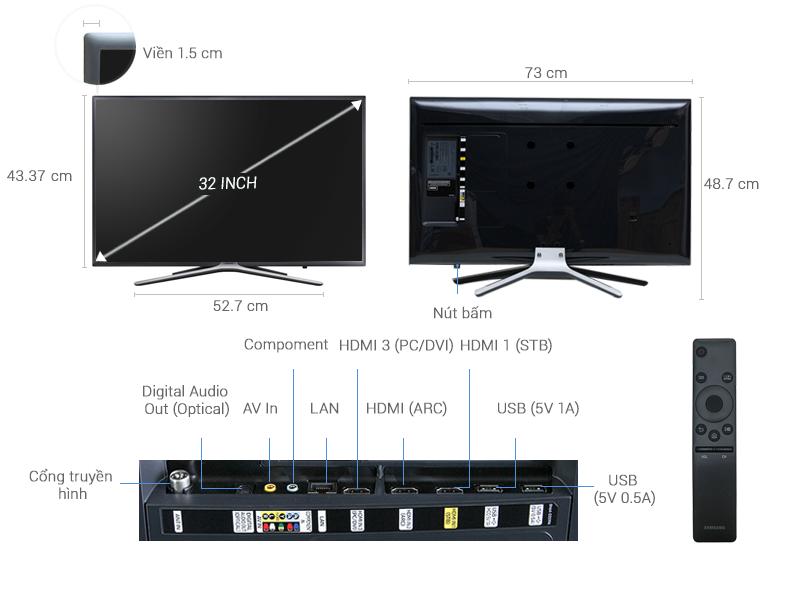 Thông số kỹ thuật Smart Tivi Samsung 32 inch UA32K5500
