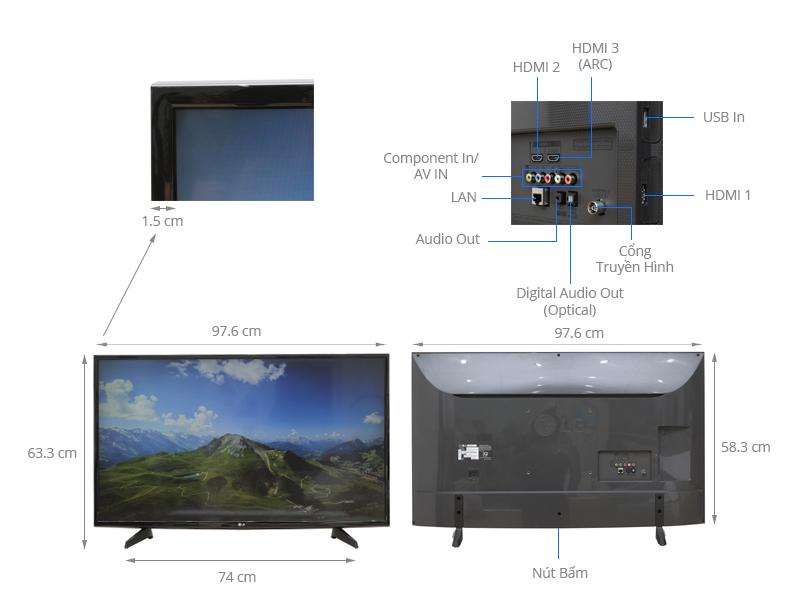 Thông số kỹ thuật Smart Tivi LG 43 inch 43UH610T