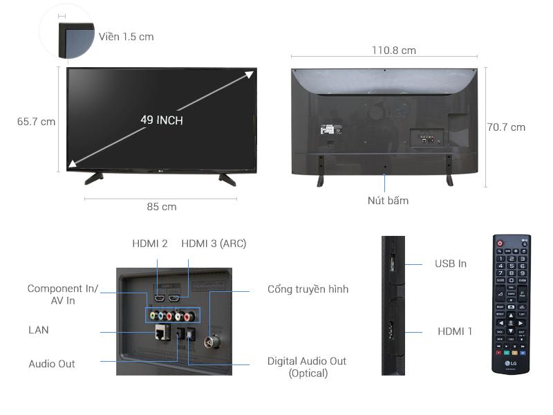 Thông số kỹ thuật Smart Tivi LG 49 inch 49UH610T