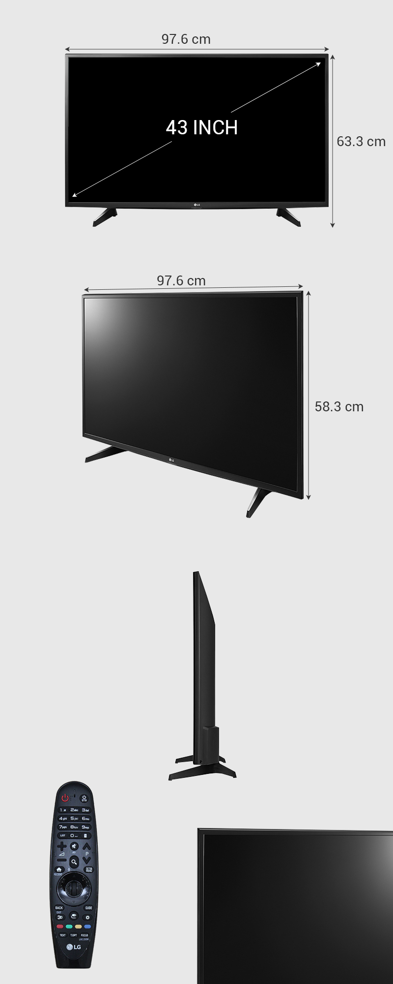 Smart Tivi LG 43 inch 43UH617T - Kích thước tivi