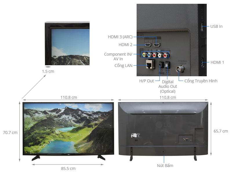 Thông số kỹ thuật Smart Tivi LG 49 inch 49UH617T