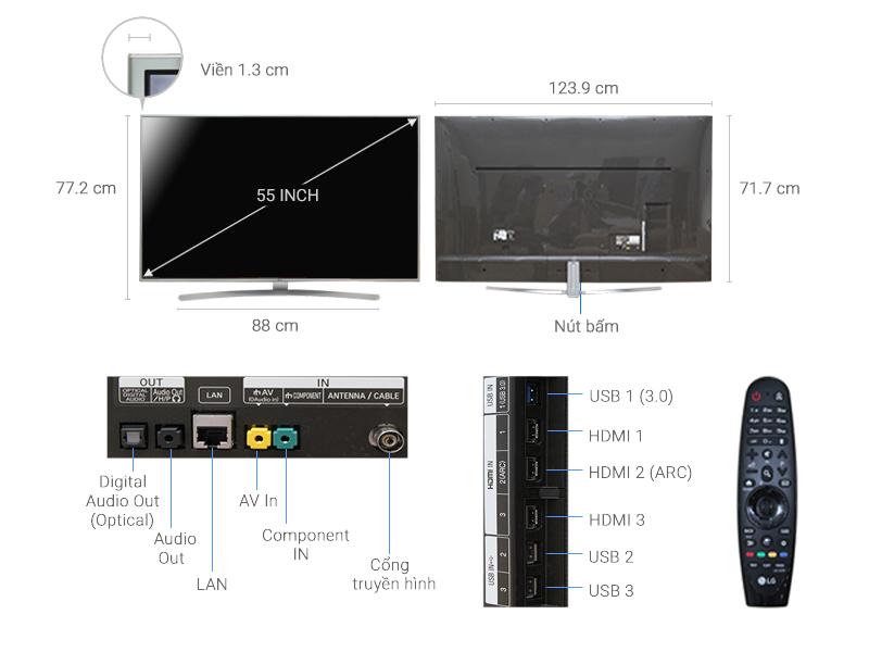 Thông số kỹ thuật Smart Tivi LG 55 inch 55UH770T