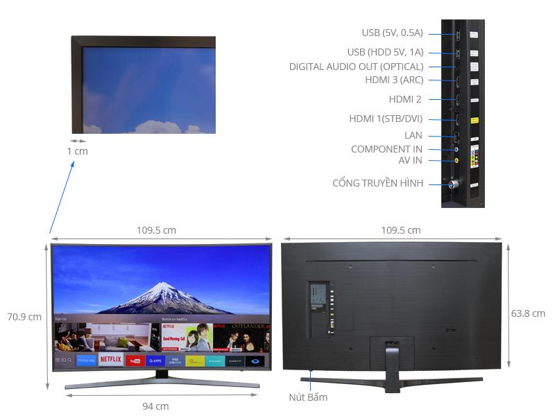 Thông số kỹ thuật Smart Tivi Cong Samsung 49 inch UA49KU6500