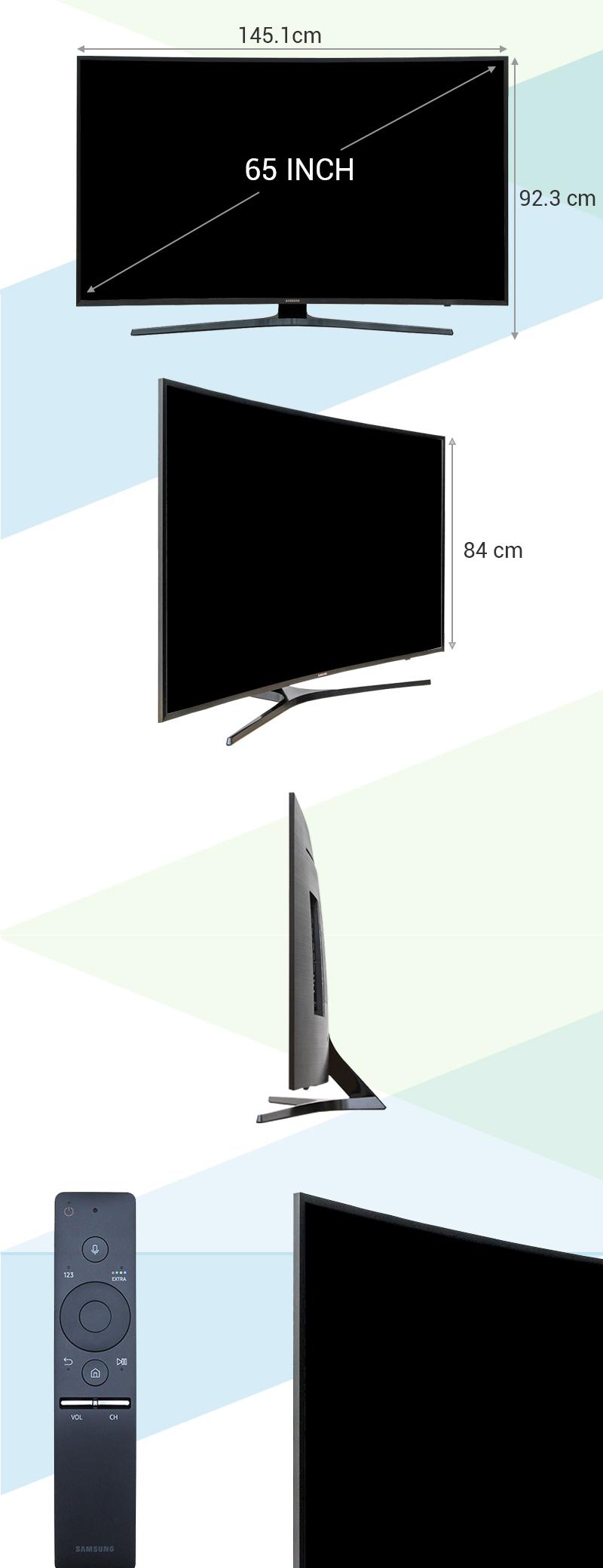 Smart Tivi Cong Samsung 65 inch UA65KU6500 - Kích thước TV