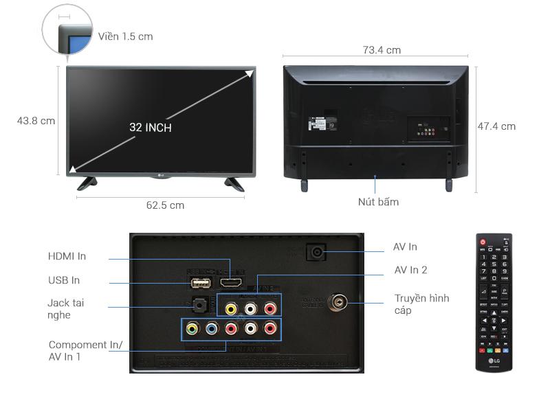 Thông số kỹ thuật Tivi LG 32 inch 32LH512D