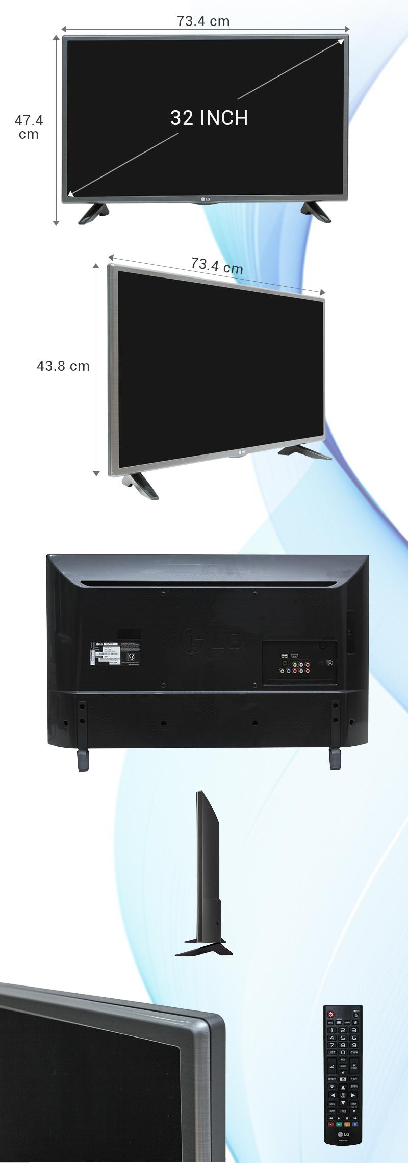 Tivi LG 32 inch 32LH512D - Kích thước tivi
