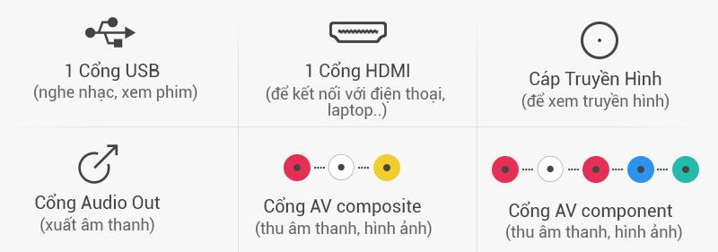 Tivi LG 32 inch 32LH512D - Kết nối
