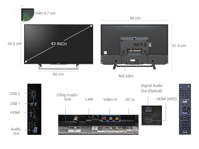 Thông số kỹ thuật Internet Tivi Sony 43 inch KDL-43W750D