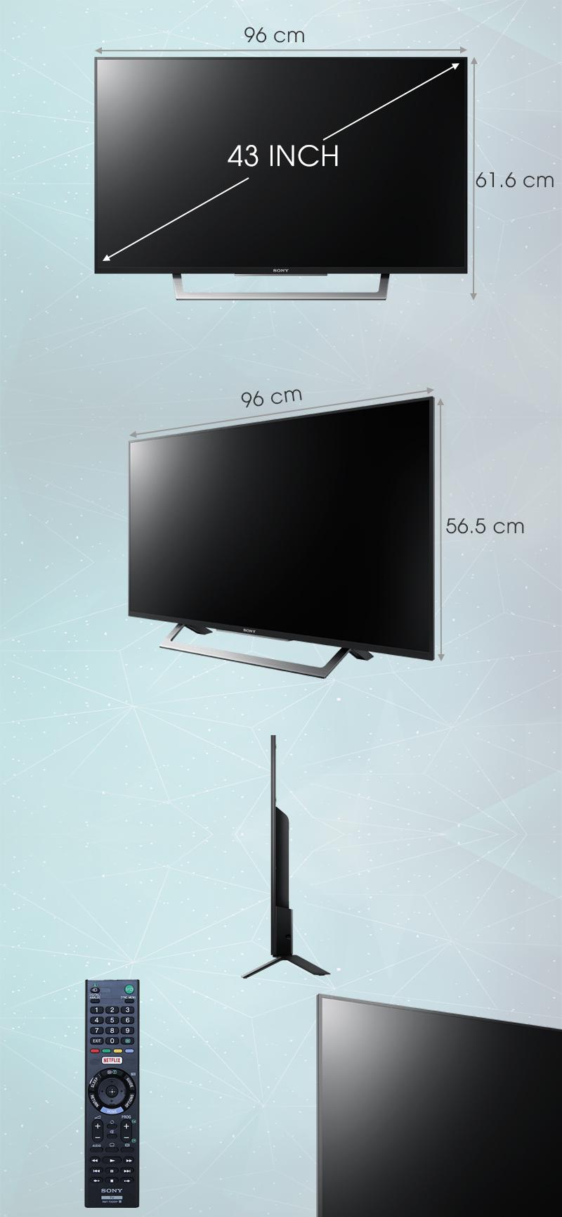 Internet Tivi Sony 43 inch KDL-43W750D - Kích thước tivi
