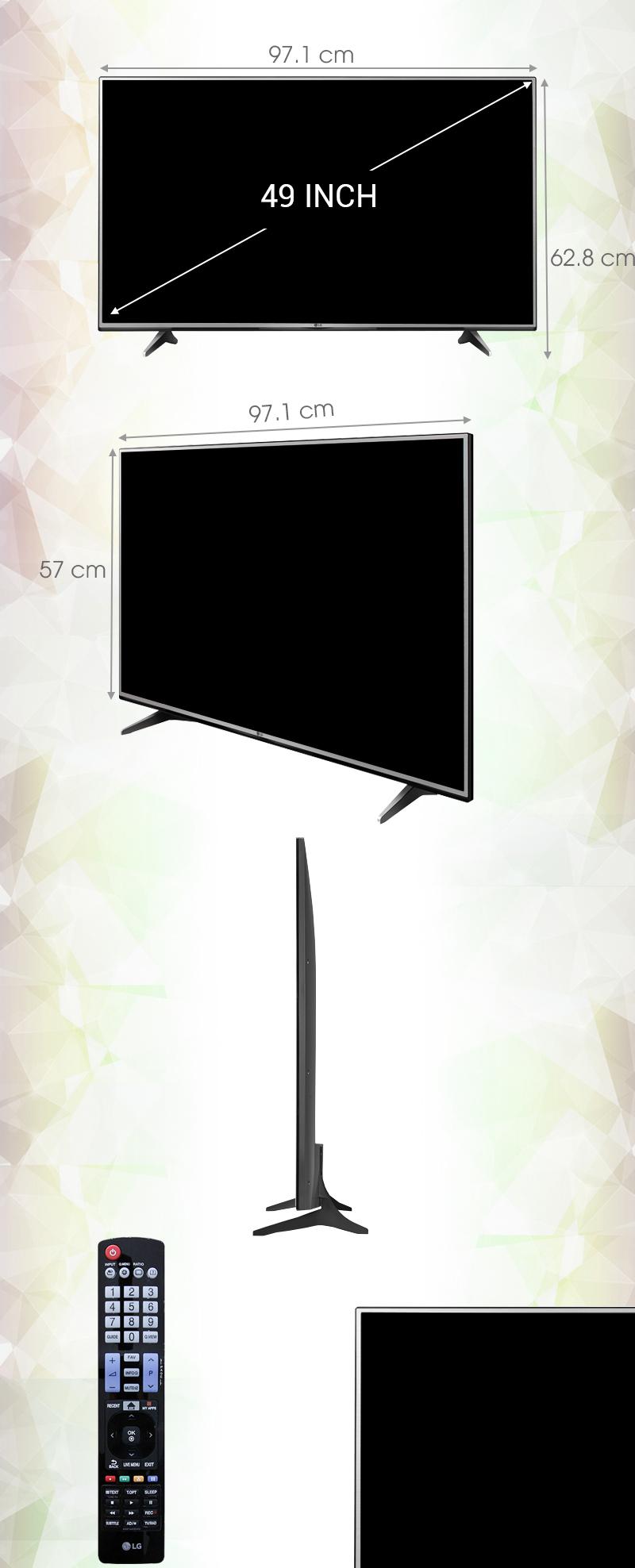 Smart Tivi LG 49 inch 49UH600T -Kích thước tivi