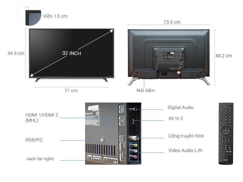 Thông số kỹ thuật Tivi Toshiba 32 inch 32L3650