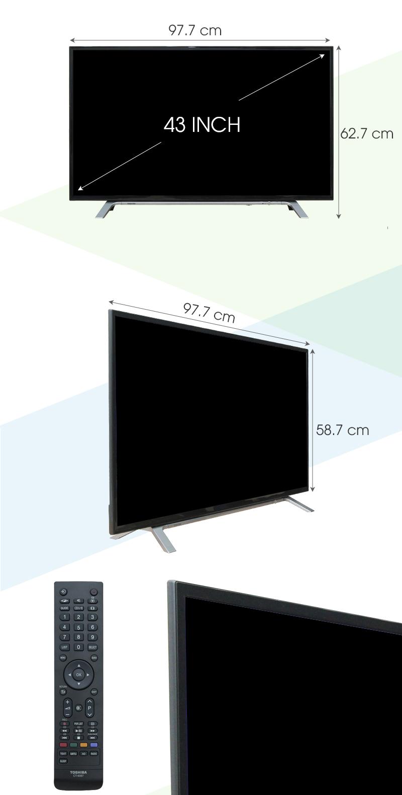 Tivi Toshiba 43 inch 43L3650 - Kích thước tivi