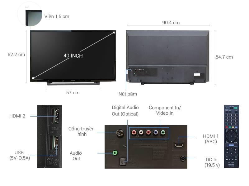 Thông số kỹ thuật Tivi Sony 40 inch KDL-40R350D