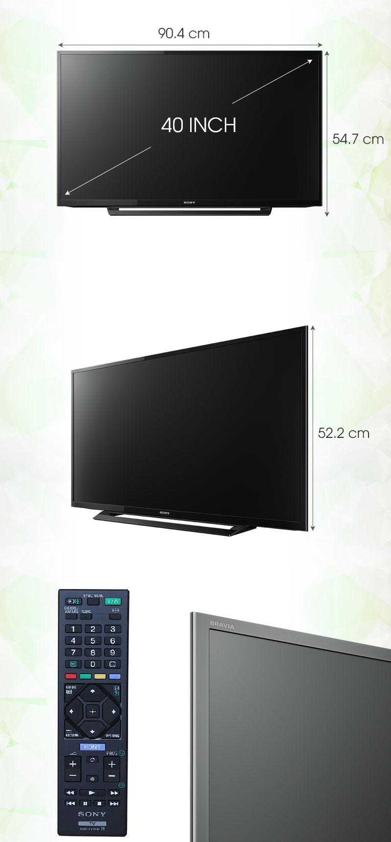 Tivi Sony 40 inch KDL-40R350D - Kích thước tivi