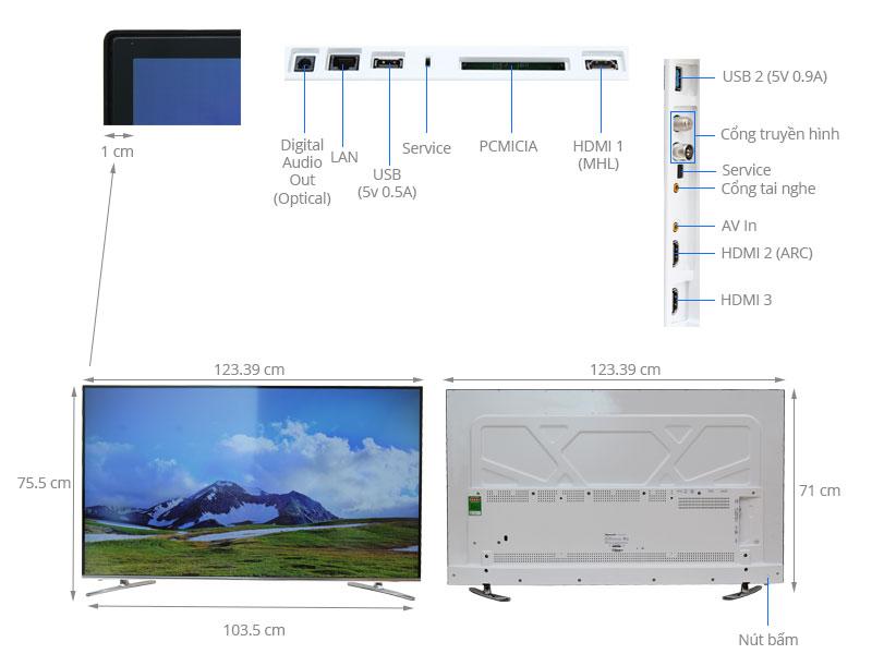 Thông số kỹ thuật Smart Tivi Skyworth GLED 55 inch 55K920S