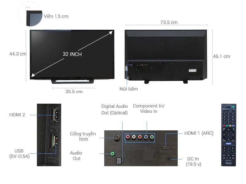 Thông số kỹ thuật Tivi Sony 32 inch KDL-32R300D