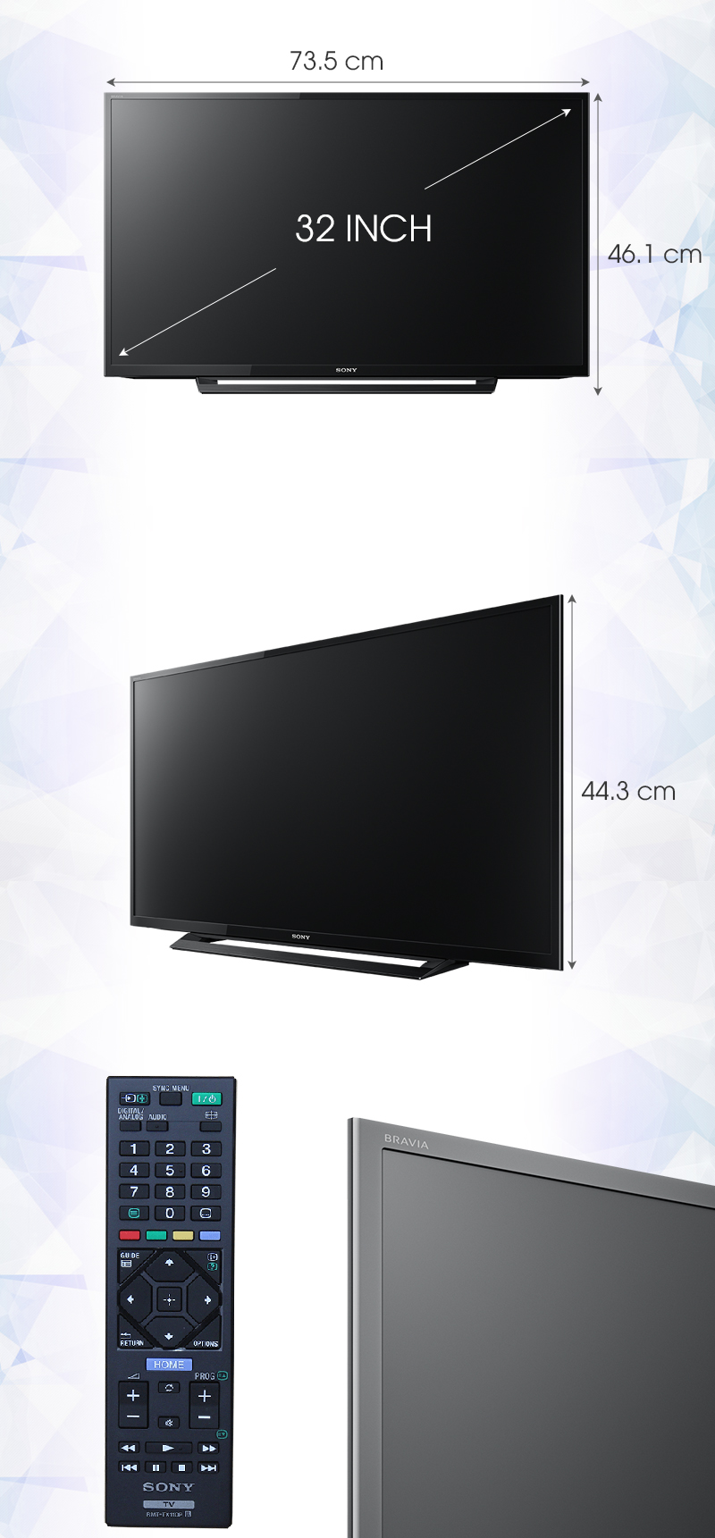 Tivi Sony 32 inch KDL-32R300D - Kích thước tivi