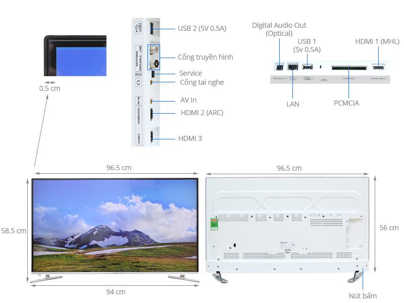 Thông số kỹ thuật Smart Tivi Skyworth GLED 43 inch 43K920S