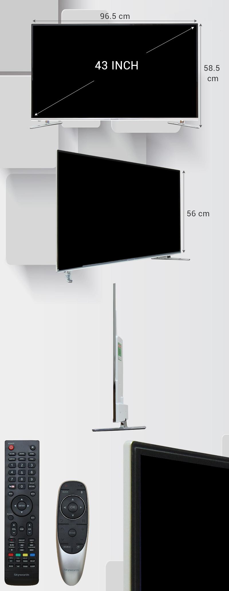 Smart Tivi Skyworth GLED 43 inch 43K920S - Kích thước TV