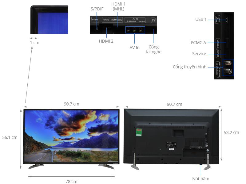 Thông số kỹ thuật Tivi Skyworth 40 inch 40E260