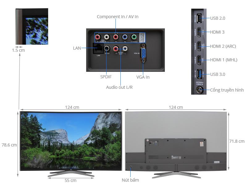 Thông số kỹ thuật Smart Tivi Cong TCL 55 inch L55C1-UC