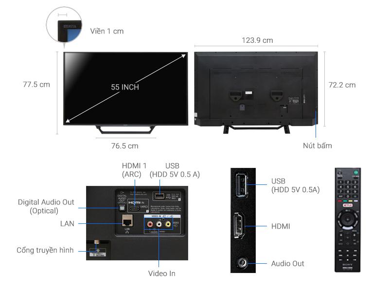 Thông số kỹ thuật Internet Tivi Sony 55 inch KDL-55W650D