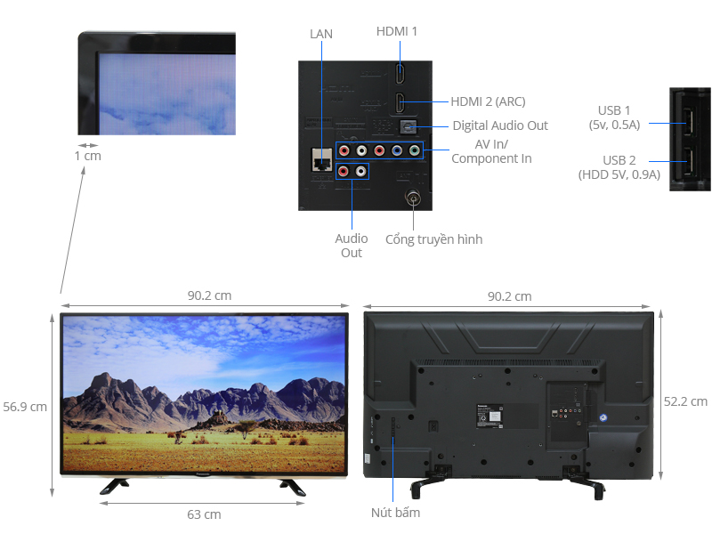 Thông số kỹ thuật Smart Tivi Panasonic 40 inch TH-40DS500V