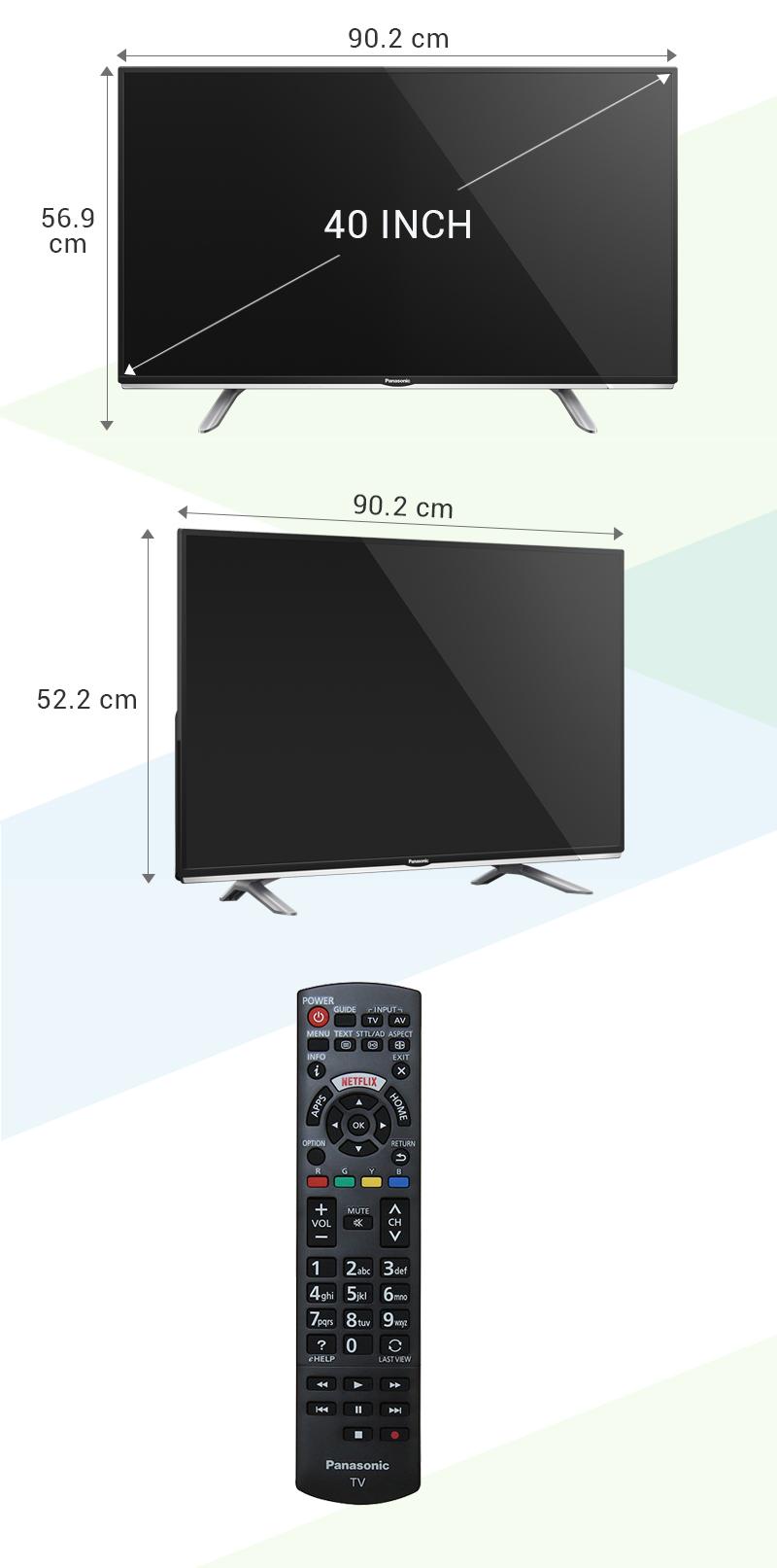 Smart Tivi Panasonic 40 inch TH-40DS500V - Kích thước tivi