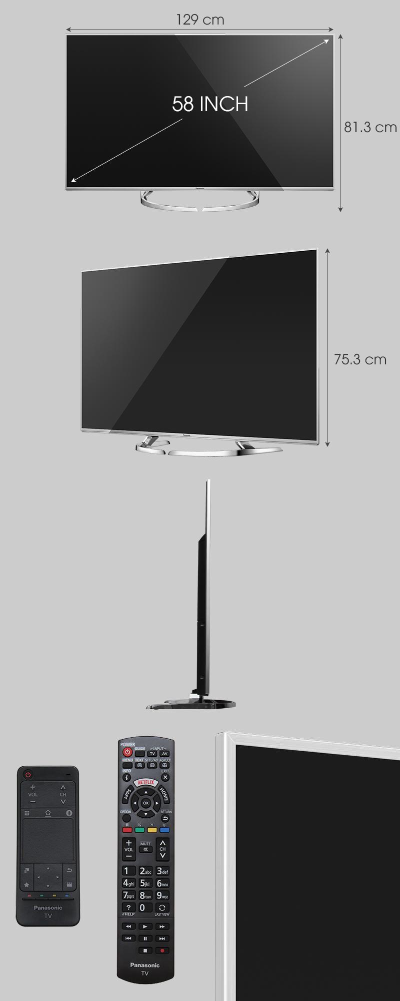 Smart Tivi Panasonic 58 inch TH-58DX700V - Kích thước TV