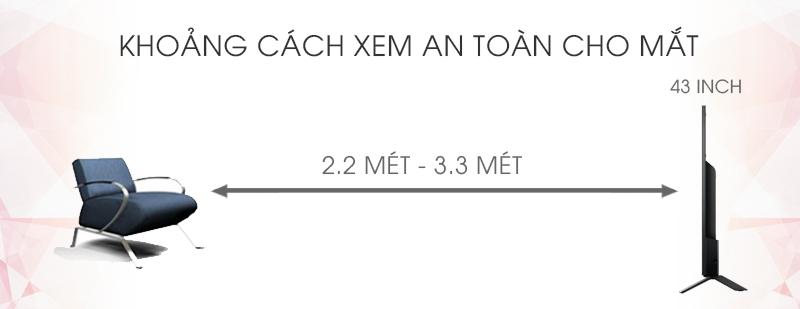 Android Tivi Sony 43 inch KD-43X8000D - Khoảng cách xem tivi phù hợp