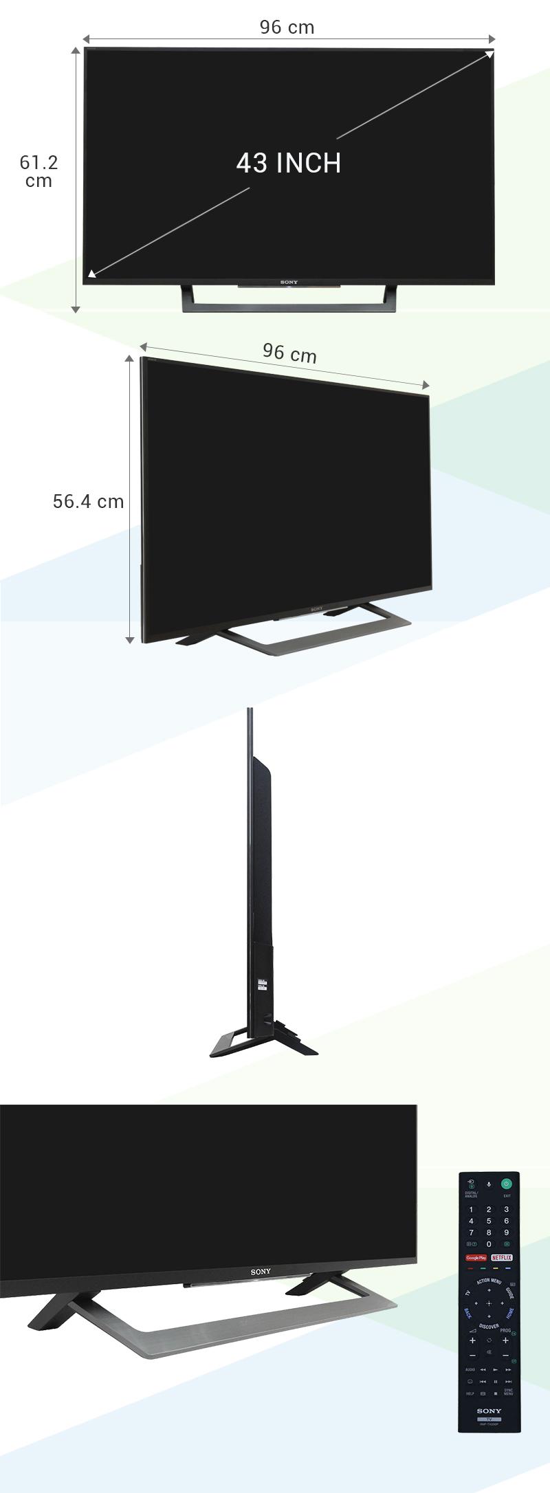 Android Tivi Sony 43 inch KD-43X8000D - Kích thước tivi