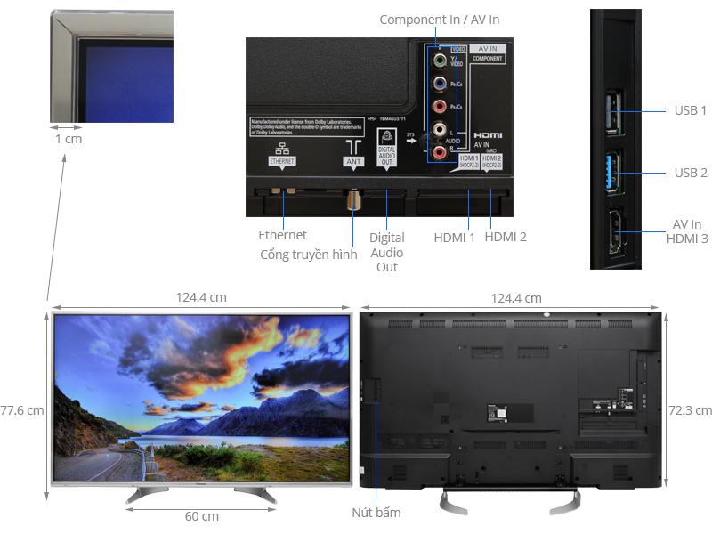 Thông số kỹ thuật Smart Tivi Panasonic 55 inch TH-55DX650V