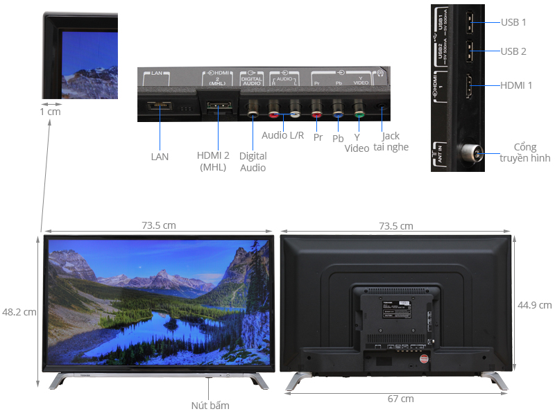 Thông số kỹ thuật Smart Tivi Toshiba 32 inch 32L5650
