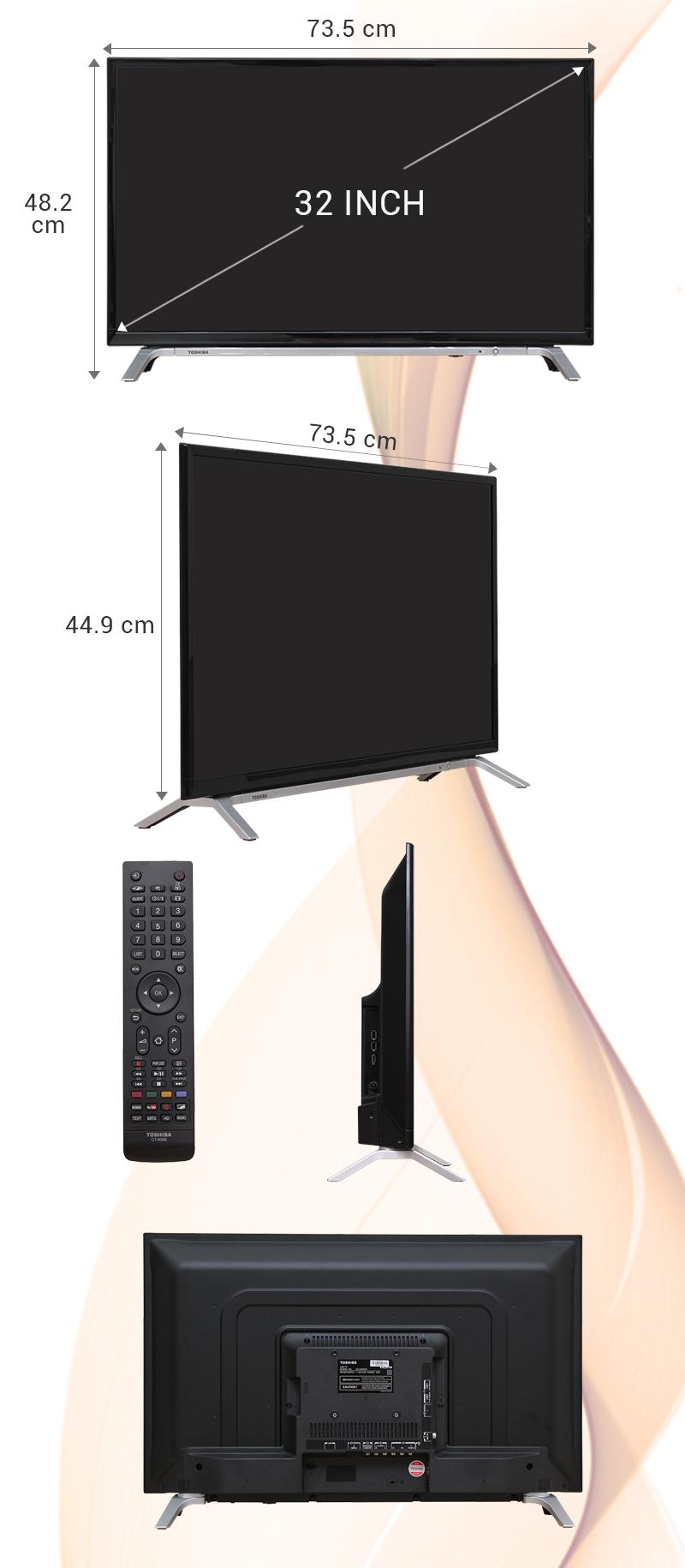 Smart Tivi Toshiba 32 inch 32L5650 - Kích thước tivi