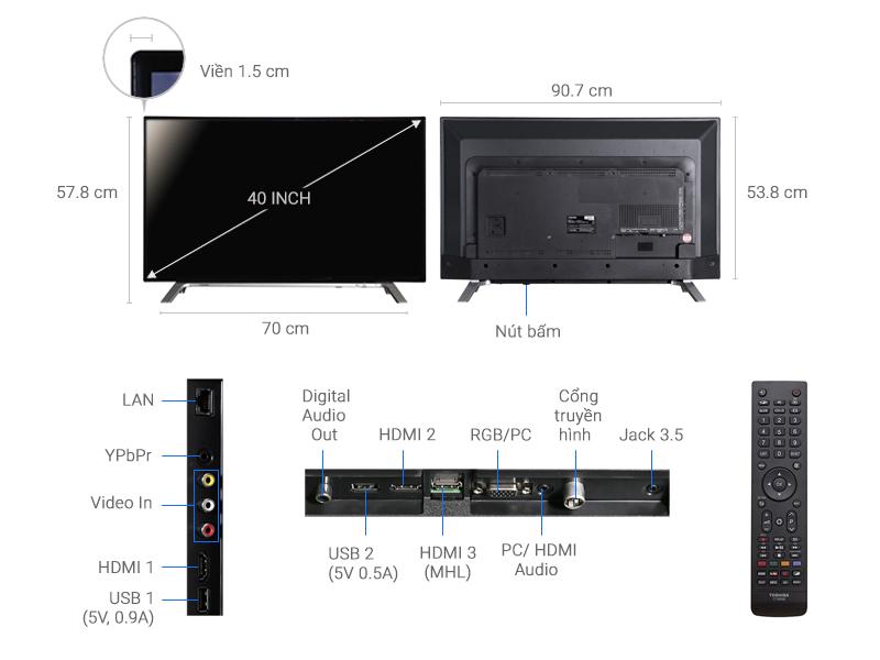 Thông số kỹ thuật Smart Tivi Toshiba 40 inch 40L5650