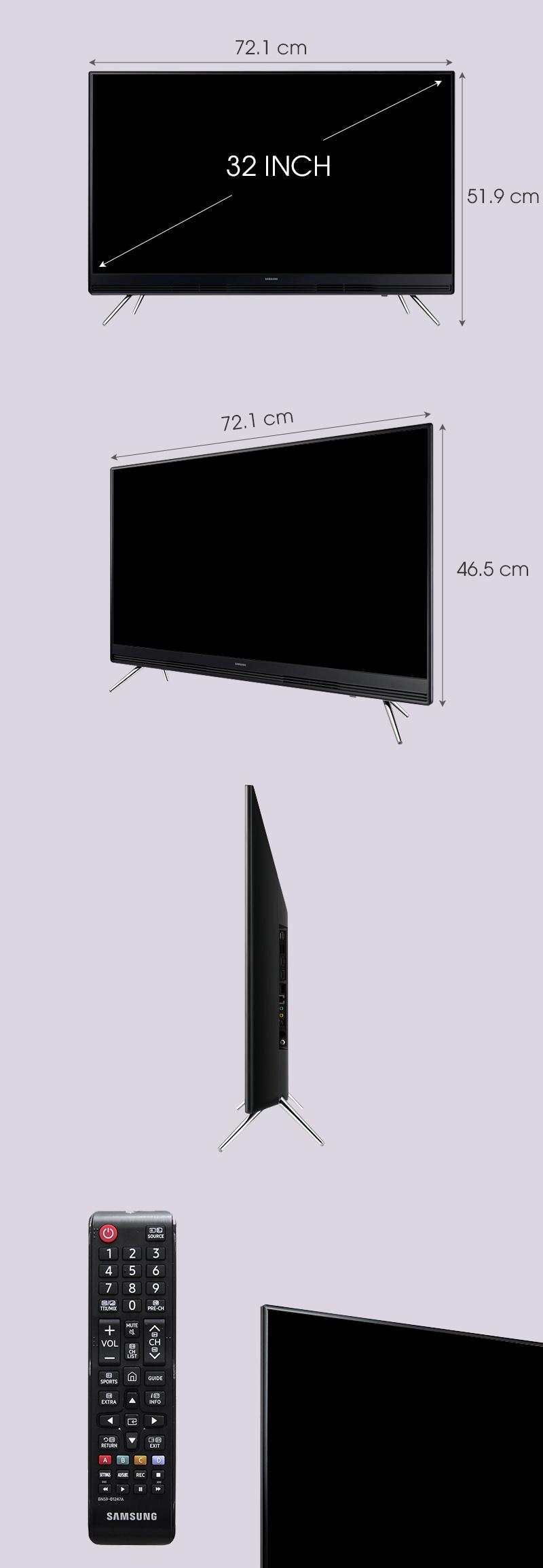 Smart Tivi Samsung 32 inch UA32K5300 - Kích thước TV