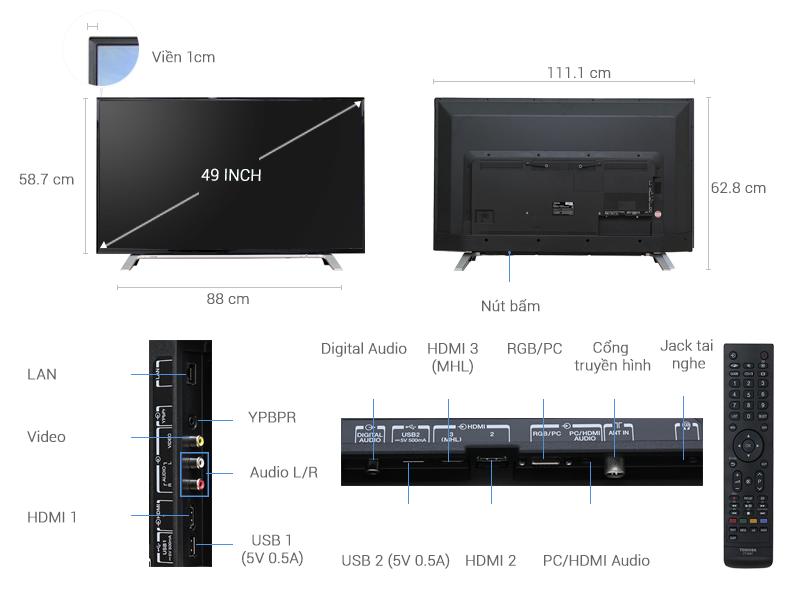 Thông số kỹ thuật Smart Tivi Toshiba 49 inch 49L5650