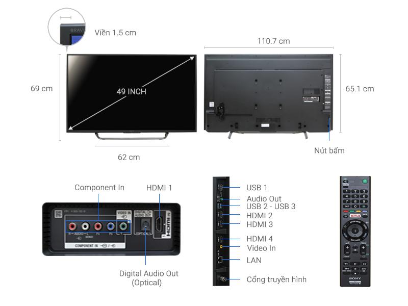 Thông số kỹ thuật Android Tivi Sony 4K 49 inch KD-49X7000D
